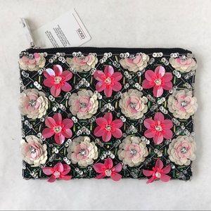 ASOS Grid Floral Zip Top Clutch Bag